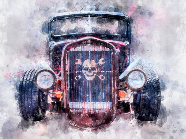 Photograph - Skull And Cross Wrench Watercolor by Michael Colgate