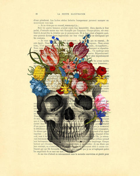 Wall Art - Digital Art - Skull With Flowers Vintage Illustration by Madame Memento