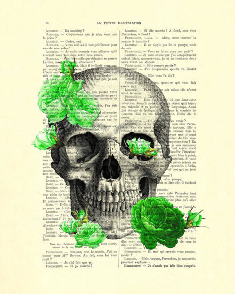 Floral Digital Art - Skull And Green Roses Illustration by Madame Memento