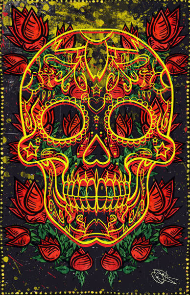 Rockstar Painting - Skull And Roses by Josh Brown