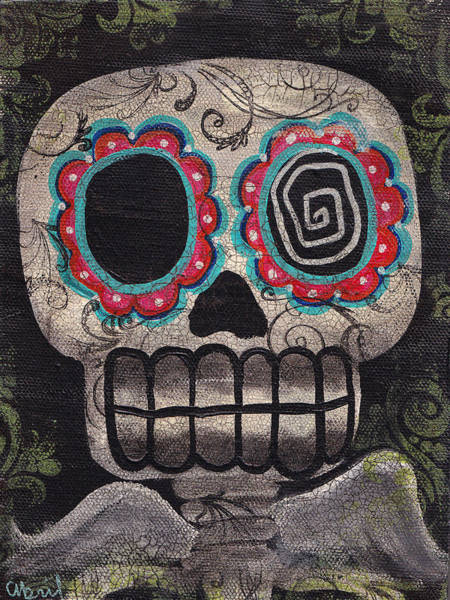 Tattoo Flash Painting - Skull Angel by Abril Andrade Griffith