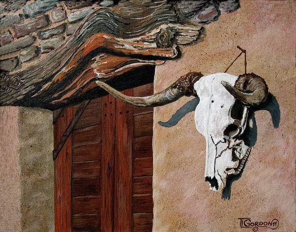 Adobe Walls Painting - Skull En La Casa by Timithy L Gordon