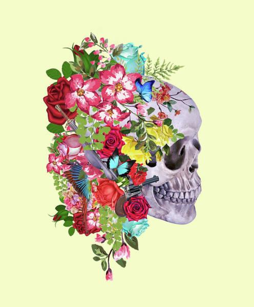 Scary Digital Art - Skull Floral 2 by Mark Ashkenazi