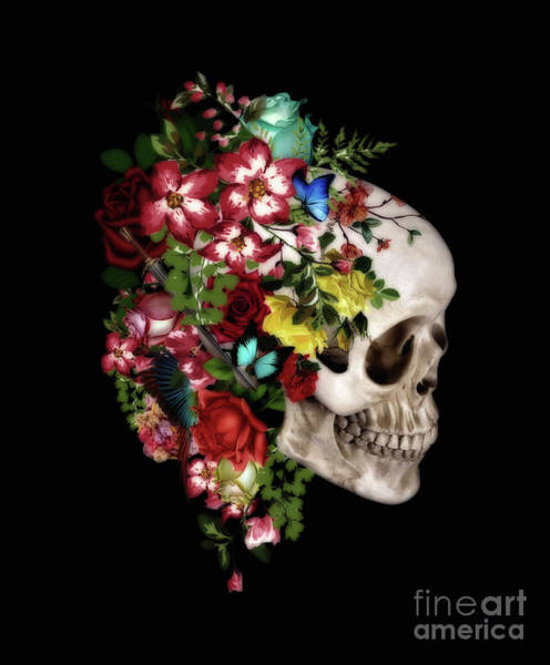 Wall Art - Digital Art - Skull Floral by Mark Ashkenazi