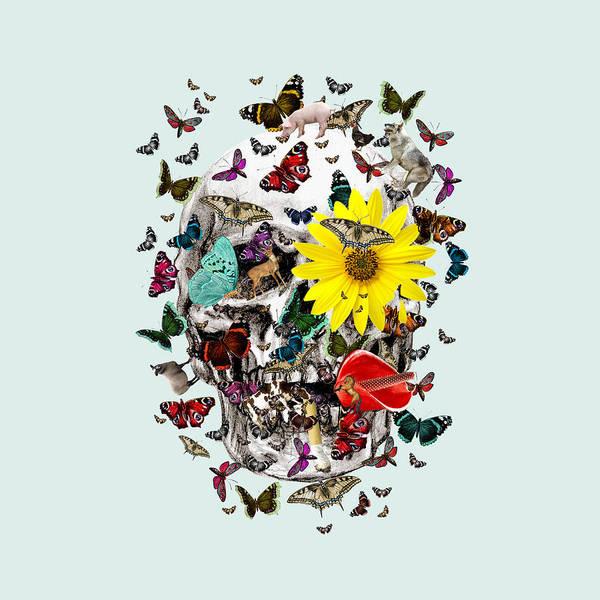 Deer Skull Digital Art - Skull Flowers Animals On Mint Butterflies by Notsniw Art