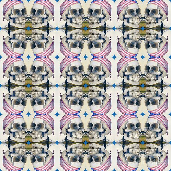 Digital Art - Skull Mirror Pattern Large by Mastiff Studios