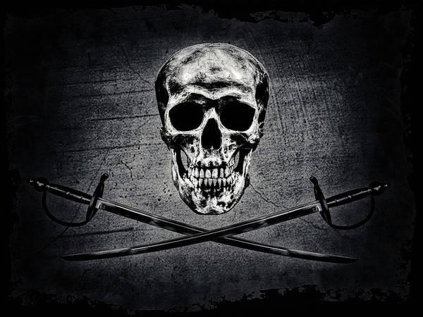 Wall Art - Mixed Media - Skull N Swords by Hans Zimmer