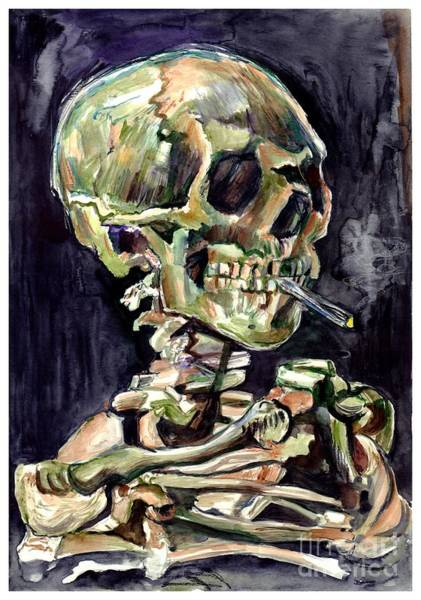 Skulls Wall Art - Painting - Skull Of A Skeleton With Burning Cigarette by Suzann Sines