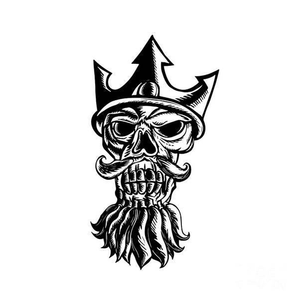 Scratchboard Wall Art - Digital Art - Skull Of Neptune Sratchboard by Aloysius Patrimonio