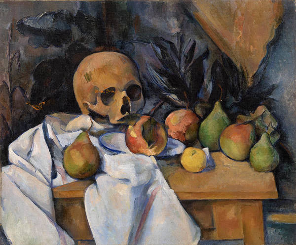 Apple Peel Painting - Still Life With Skull by Paul Cezanne