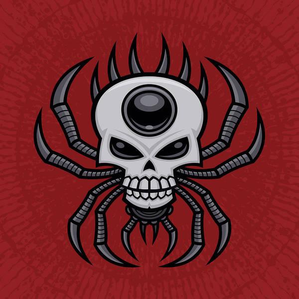 Spider Digital Art - Skull Spider by John Schwegel