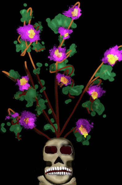 Digital Art - Skull Vase by Teresa Epps