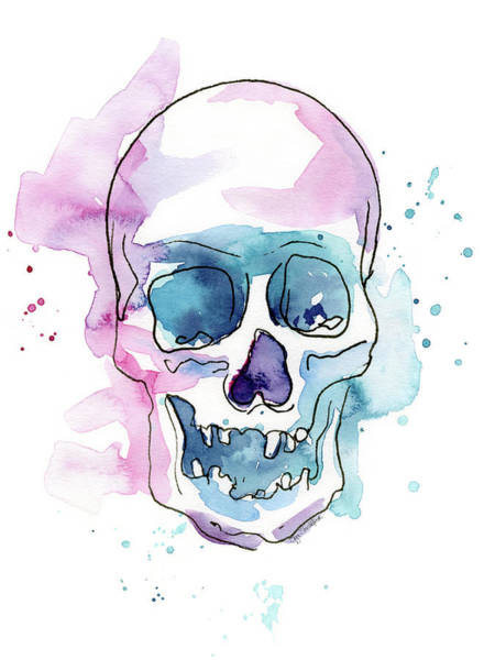 Skull Watercolor Abstract Art Print