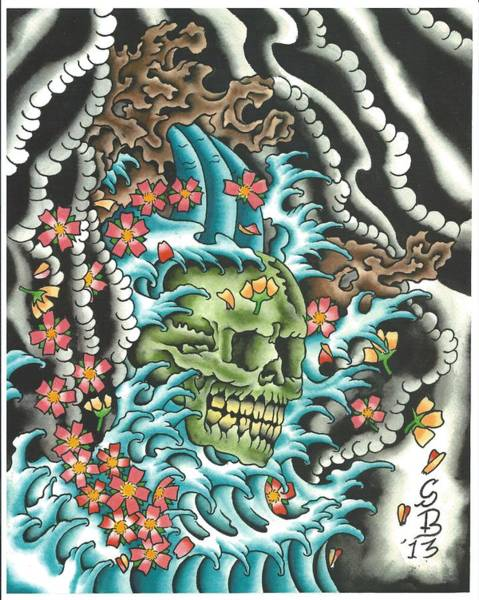 Tattoo Flash Painting - Skull With Fingerwaves by Scott Bohrer