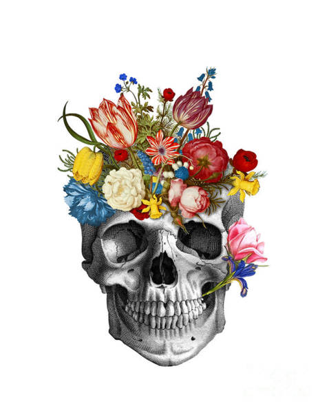 Floral Digital Art - Skull With Flowers by Madame Memento