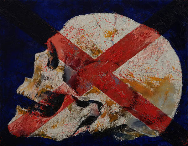 Rock Texture Painting - Skull With Cross by Michael Creese