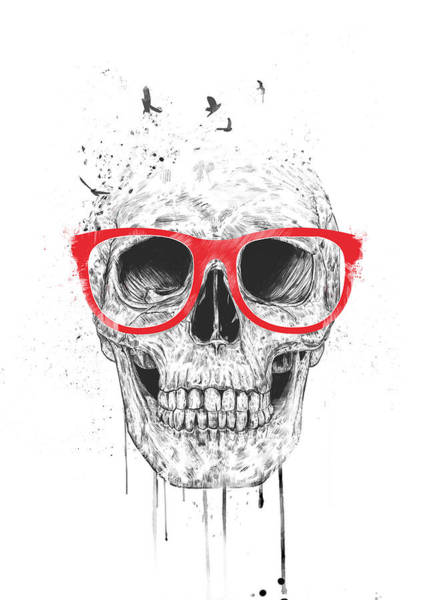 Skulls Wall Art - Mixed Media - Skull With Red Glasses by Balazs Solti