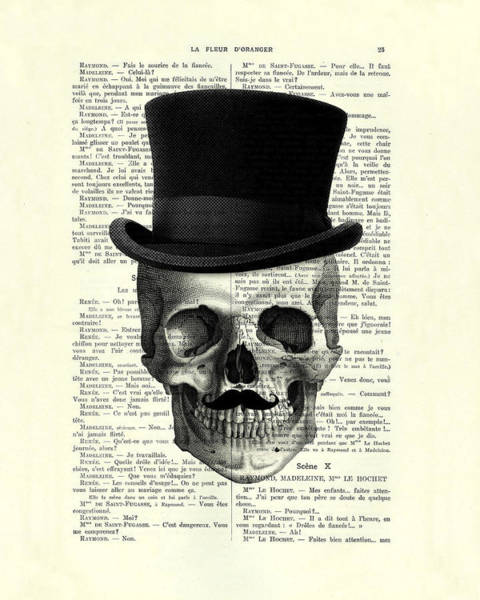 Skull With Top Hat And Moustache Art Print