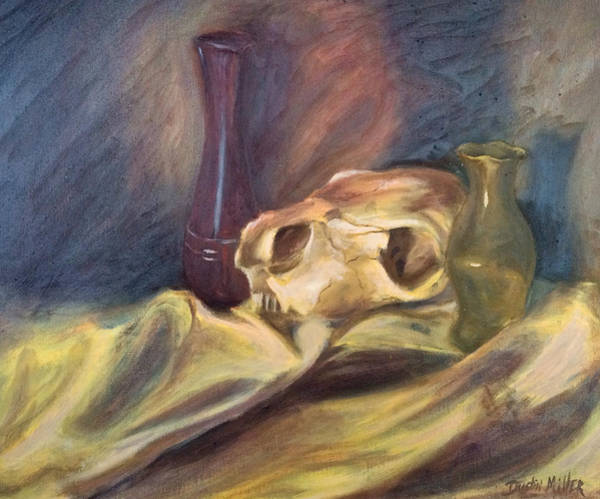 Painting - Skull With Vases by Dustin Miller