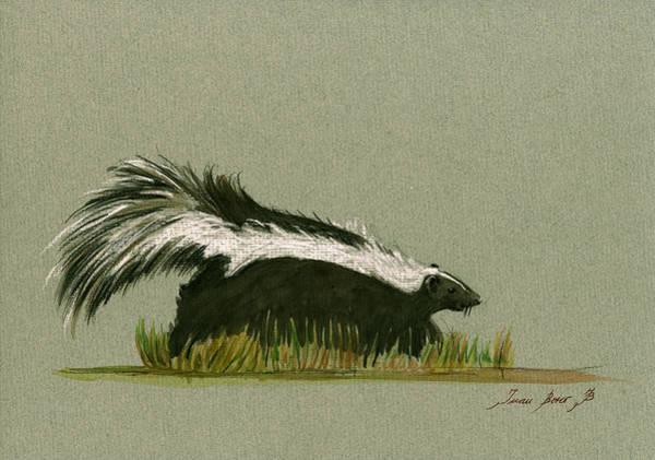 Wall Art - Painting - Skunk Animal by Juan  Bosco