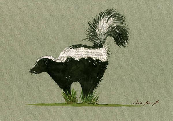 Wall Art - Painting - Skunk  by Juan  Bosco