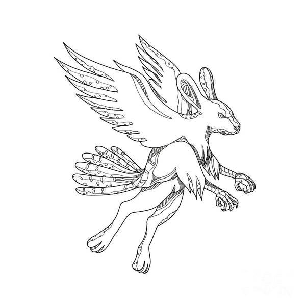 Haring Digital Art - Skvader Flying Doodle by Aloysius Patrimonio