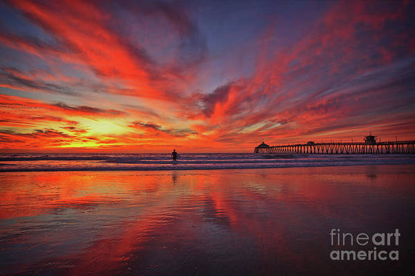 Photograph - Sky On Fire At The Imperial Beach Pier by Sam Antonio Photography