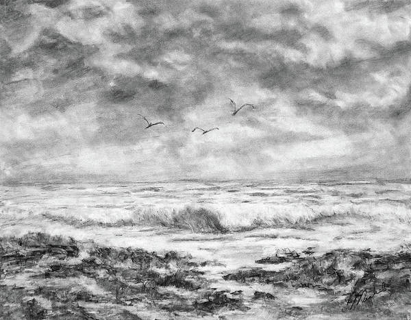 Drawing - Sky Rocks And Water by Michele A Loftus