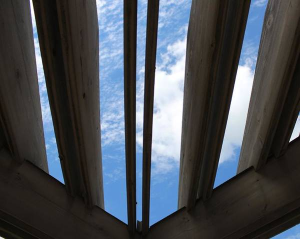 Wall Art - Photograph - Sky-view Through Trellis by Weathered Wood