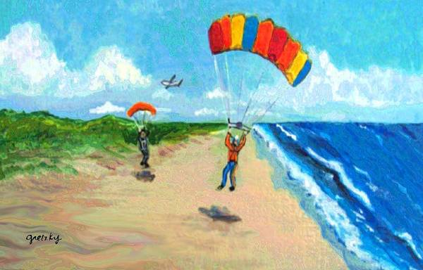 Skydive Painting - Skydive Beach Landing by Paintings by Gretzky
