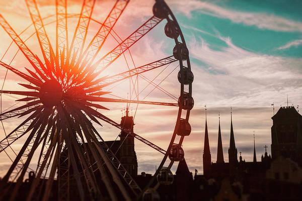 Fairground Photograph - Skyline And Ferris Wheel Gdansk Poland  by Carol Japp