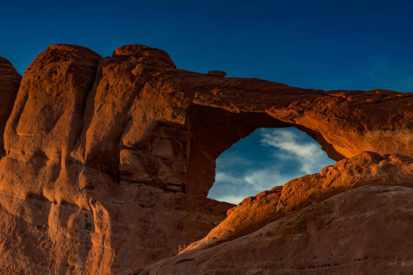 Photograph - Skyline Arch At Sunset by Rick Berk