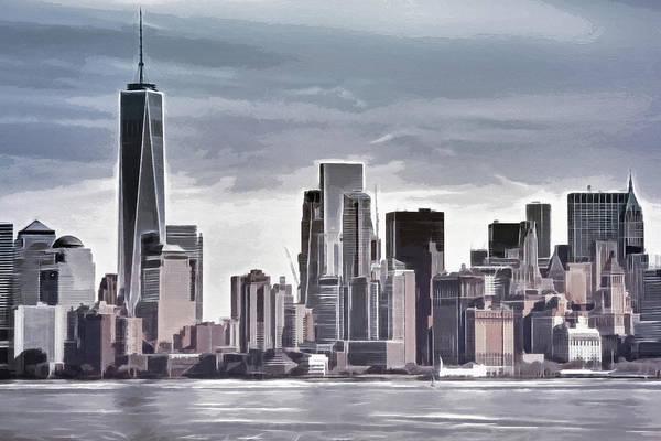 Manhattan Skyline Painting - Skyline Manhattan Gray by Lutz Baar