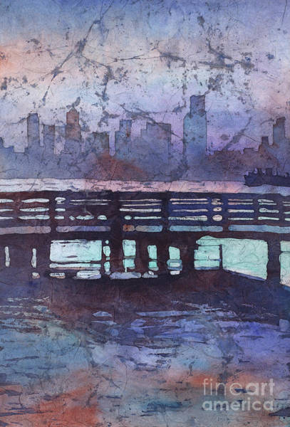 Downtown Raleigh Wall Art - Painting - Skyline Of Downtown Seattle, Washington At Dusk.  Watercolor Bat by Ryan Fox