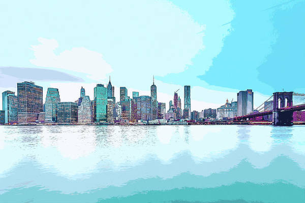 Digital Art - Skyline Of New York City, United States In Blues by Anthony Murphy