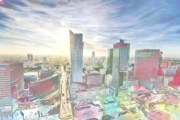 Digital Art - Skyline Of Warsaw Poland by Anthony Murphy
