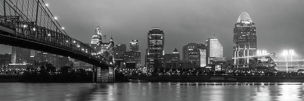 Ohio Stadium Wall Art - Photograph - Skyline Panorama Of Cincinnati Ohio - Usa - Black And White by Gregory Ballos