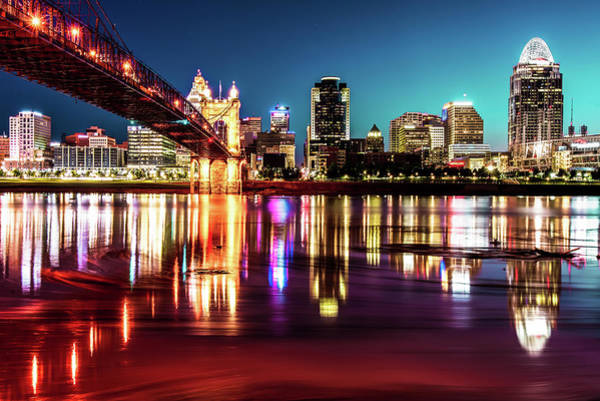 Photograph - Skyline Reflections Of Cincinnati Ohio by Gregory Ballos