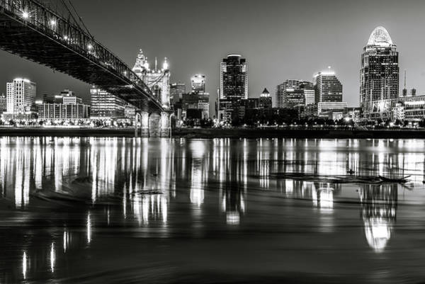 Photograph - Skyline Reflections Of Cincinnati Ohio In Black And White by Gregory Ballos