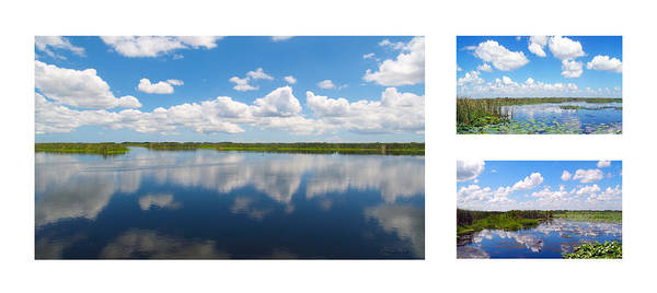 Photograph - Skyscape Reflections Blue Cypress Marsh Florida Collage 3 by Ricardos Creations