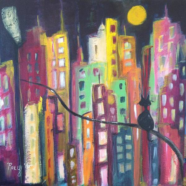 Wine Painting - Skyscrapers by Roxy Rich