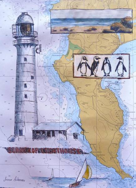African Penguin Painting - Slangkop Lighthouse by Yvonne Ankerman