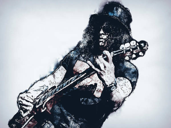 Guns And Roses Painting - Slash - 04 by Andrea Mazzocchetti