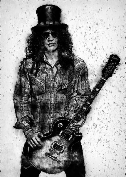 Guns And Roses Painting - Slash - 05  by Andrea Mazzocchetti