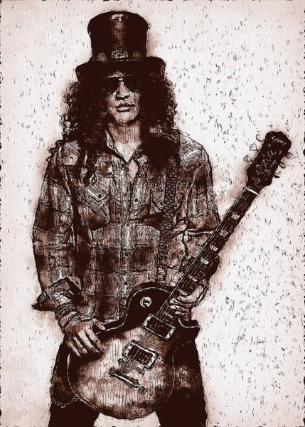 Guns And Roses Painting - Slash - 06 by Andrea Mazzocchetti