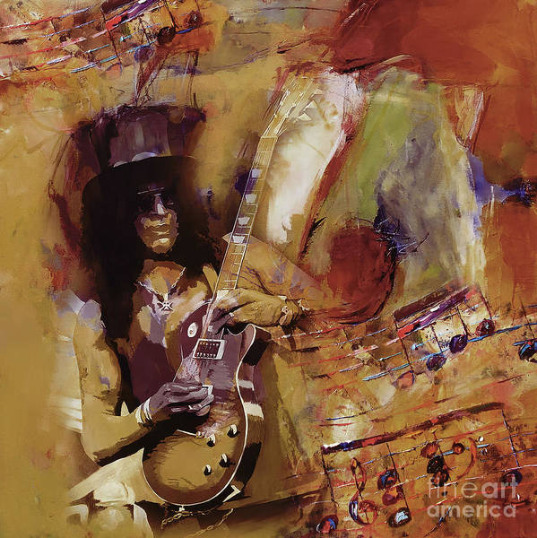 Guns And Roses Painting - Slash Guitarist 1 by Gull G