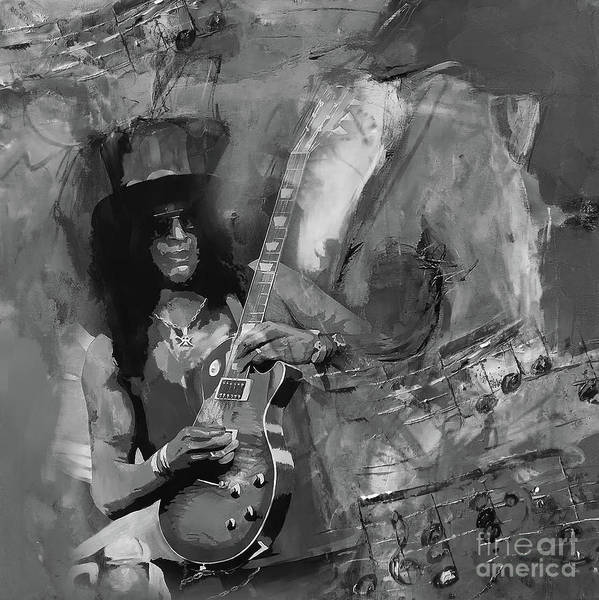 Guns And Roses Painting - Slash Guitarist by Gull G
