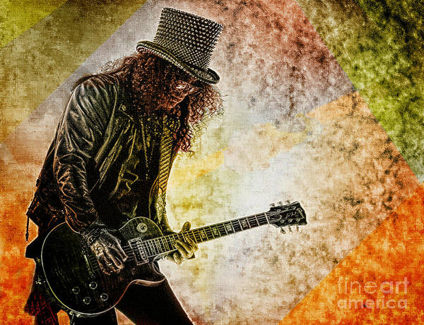 Glam Rock Digital Art - Slash - Guitarist by Ian Gledhill
