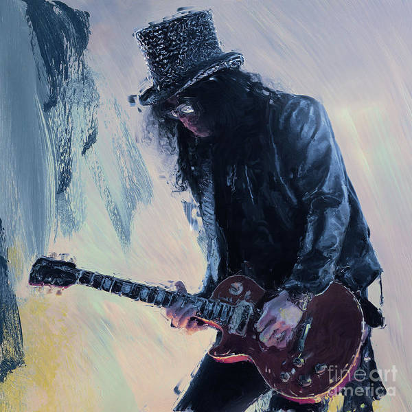 Guns And Roses Painting - Slash Musician 01 by Gull G