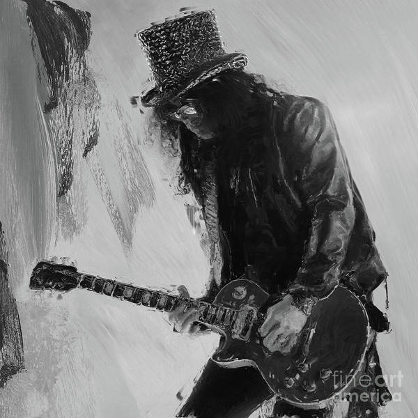 Guns And Roses Painting - Slash Musician by Gull G